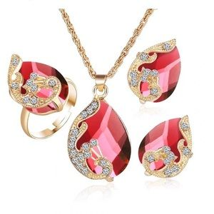 Jewelry - Red Crystal Drop Three Pendant Necklace Earrings